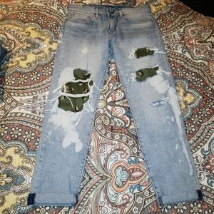 Levi's premium denim hi ball camo distressed jeans